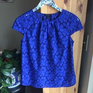 J. Crew Blue Floral Lace Cap Sleeve Blouse, Size 4